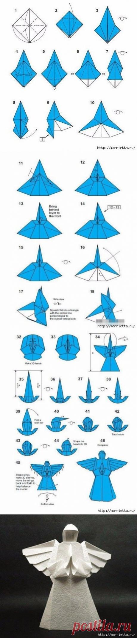 Ангелочек из бумаги в технике оригами — Сделай сам, идеи для творчества - DIY Ideas