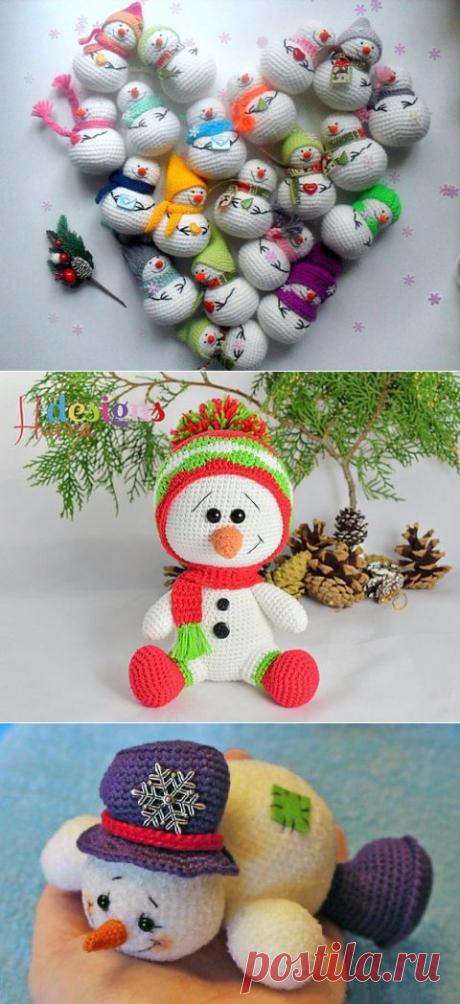 Снеговик крючком, 32 игрушки с описанием и схемами вязания