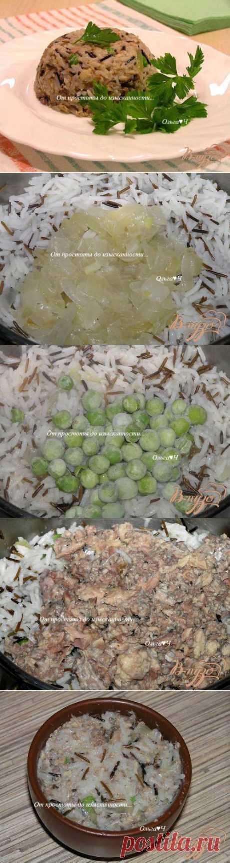 Дикий и пропаренный рис с зеленым горошком и сайрой