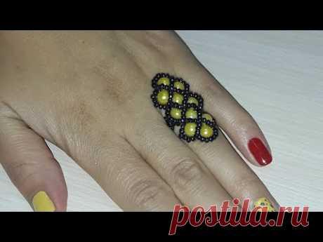 Кольцо из бисера Косичка/Ring from beads Piglet