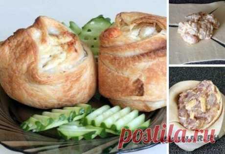 Пирожки слоёные с курицей и сыром рецепт приготовления с фото