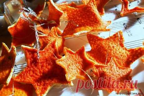 Звездочки из апельсиновой кожуры на Новый год