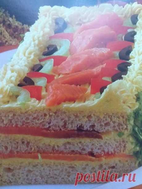 Бутербродный торт с красной рыбкой. | Наталья Полякова-Колесникова | Яндекс Дзен