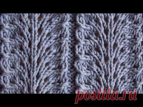 Ажурный узор Павлиный хвост Вязание спицами Видеоурок 97