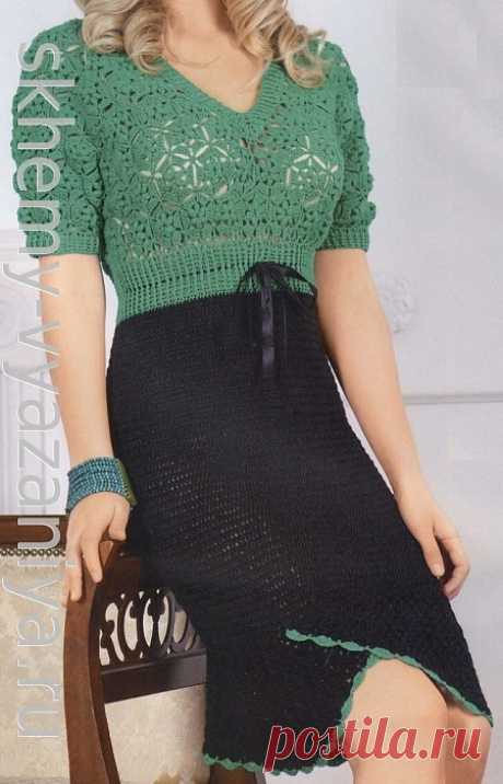 Двухцветное платье крючком с лифом из мотивов - схема вязания с описанием