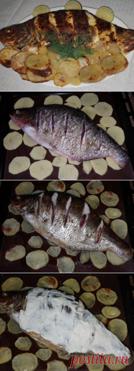 Лещ с картошкой, запеченные в духовке Самое сложное в сегодняшнем рецепте - это почистить рыбу и постараться не подавиться косточками.