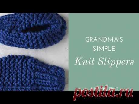 Бабушкины простые вязаные тапочки