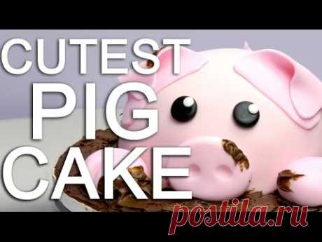 How-To ¡make a PIGGY CAKE covered in CHOCOLATE mud!