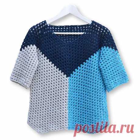 Летний пуловер со смещенной линией реглана