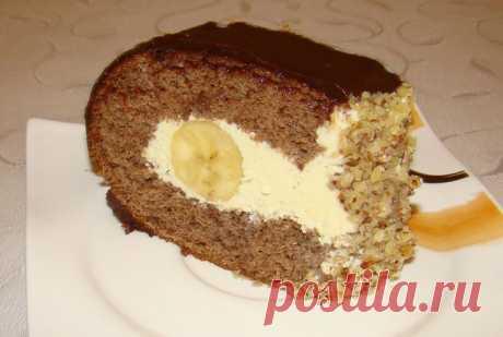 Торт «Слеза слона»     Ингредиенты для коржа: 6 яиц 6 ст.л. сахара 2 ст.л. муки 3 ст.л. какао 0,5 ч.л. гашеной соды Ингредиенты для крема: 1 банка сгущенного молока 200 гр сливочного масла 1 банан для начинки Рецепт при…