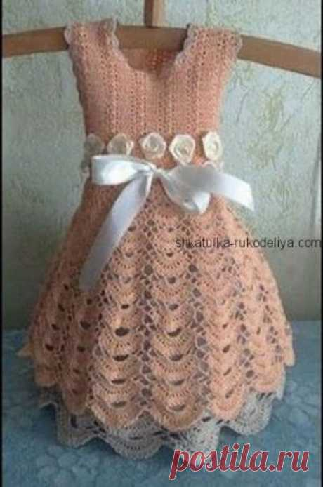 Платье крючком «Алёнка» Платье крючком «Алёнка» на малышку до года. Детское летнее платье + мастер класс