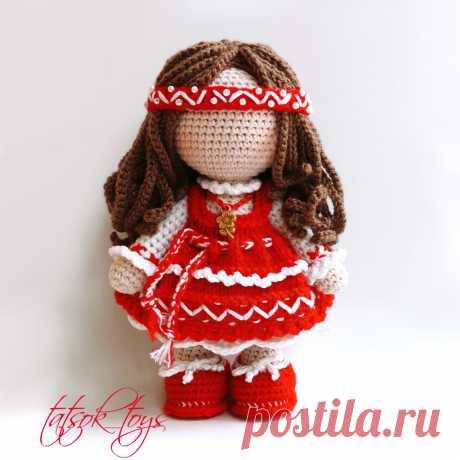 PDF Кукла Берегиня крючком. FREE crochet pattern; Аmigurumi doll patterns. Амигуруми схемы и описания на русском. Вязаные игрушки и поделки своими руками #amimore - кукла, куколка, оберег, талисман.