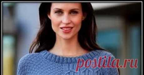 Вязание простого пуловера спицами для женщин Красивый и простой пуловер спицами для женщин с описанием вязания и схемой узора