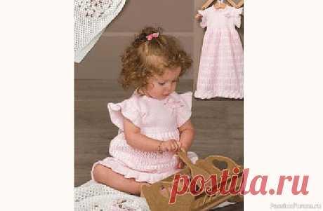 Милое платье для девочки 6-12 месяцев | Вязание спицами для детей Для вязания платья для ребёнка 6 – 12 месяцев потребуется 300 гр пряжи.Лучше всего взять детский акрил, длина нить 300 м на 100 г. Спицы № 3.СпинкаНа спицы набираем 206 петель и вяжем 2 ряда – лицевой гладью, затем 1 ряд – изнаночной гладью, переходим к вязанию рюши по схеме № 2.На...