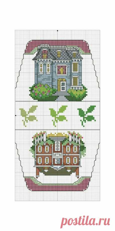 Schemes for the handbag which is cross stitched the house