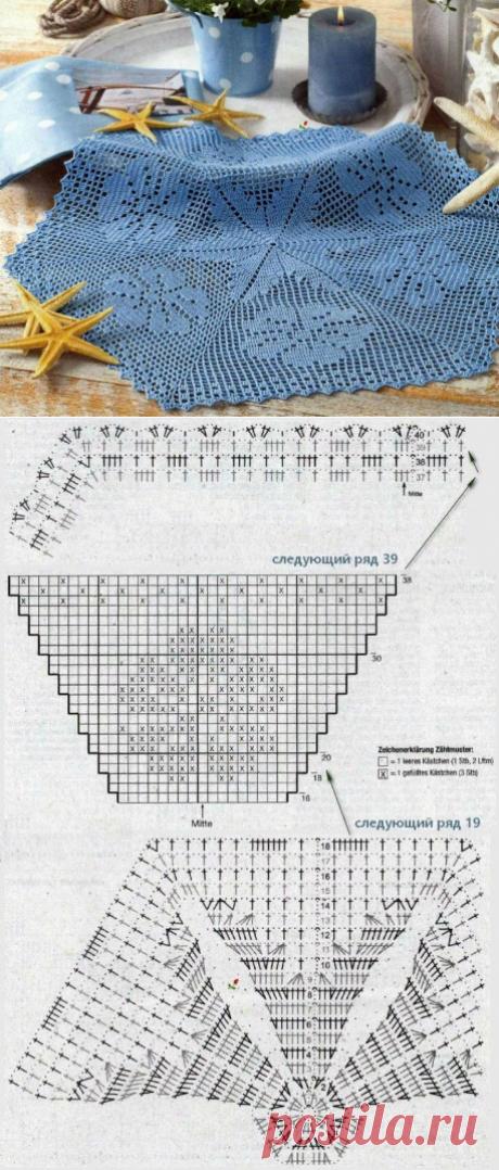 Салфетка в технике филейного вязания