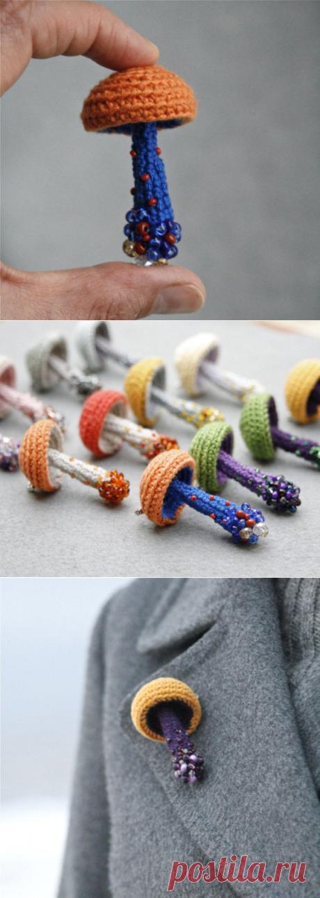 Beaded mushroom crochet brooch woodland jewelry whimsical