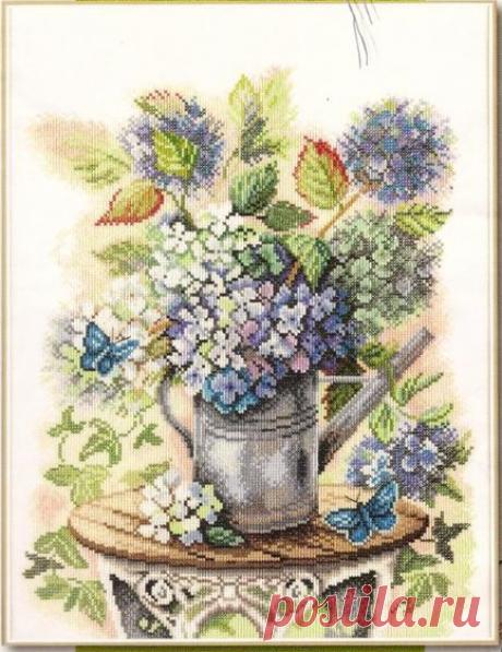 """Вышивка крестом - """"Букет на столе"""" (схемы и палитра цветов)"""