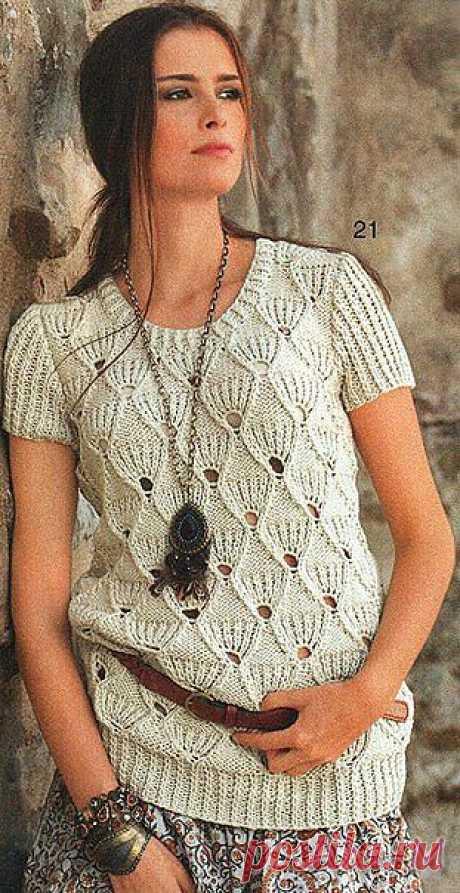 Пуловер с веерным узором, на спицах. /