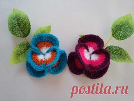 Tığ İşi Menekşe Çiçek Yapımı - Crochet Flower