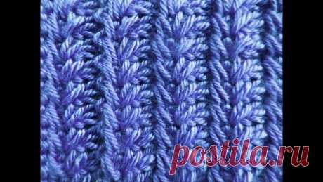 Узор ''Выпуклый колосок''   Вязание спицами для начинающих  На этот раз у меня получился плотный узор, для шапок и зимних свитеров.