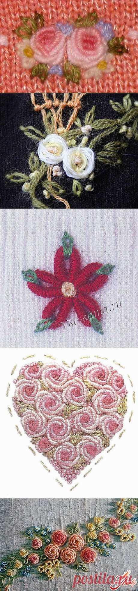 Вышивка по трикотажу и вязанному полотну. Очень красиво.  Красота шва рококо в вышивке.