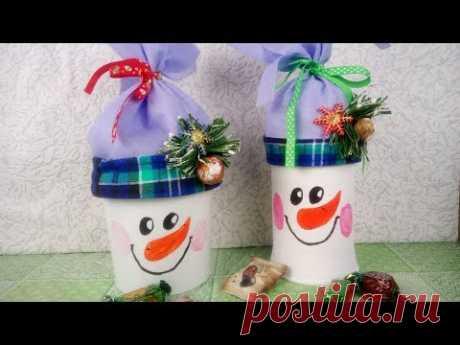 Вторая жизнь ведеркам и банкам. Снеговики/Snowman from buckets and cans. ХоббиМаркет