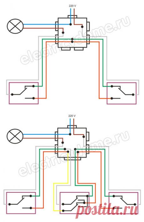 Проходной выключатель схема подключения – фото инструкция. Как подключить проходной выключатель