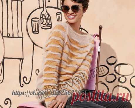 Джемпер  #спицы #вязаный_пуловер Вязание спицами для женщин модного двухцветного джемпера с защипами с пошаговым описанием.  Вам потребуется: 100 (150, 150, 200) грамм бежевой пряжи, состоящей из 71% мохера, 14% шелка, 8% полиэстера, 7% нейлона; длиной нити 210 метров в 25 граммах и 100 (150, 150, 150) грамм золотисто-желтой пряжи, состоящей из70% шерсти альпака, 30% шелка; длиной нити 250 метров в 50 граммах; круговые спицы № 4,5 и 7 длиной 60 см; 1 вспомогательная спица ...