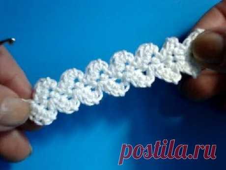 Вязание крючком - Урок 189 - Ленточное кружево 3