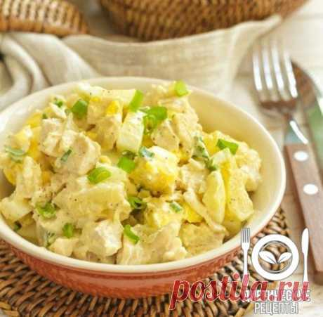 Chicken and pineapple salad: easy dinner!\u000aon 100 grams - 65.03 kkalb\/zh\/u - 8.27\/0.71\/5.84 \u000a\u000aIngredients: \u000aChicken fillet - 1 piece\u000aThe Beijing cabbage - 150 g\u000aPineapples tinned - 250 g \u000aNatural yogurt - 100 g\u000aGreen onions - 30 g\u000aFor the recipe thanks to group Dietary recipes \u000a\u000aPreparation: \u000aWash out fillet and boil it in the boiling water. Take ready meat, let's cool down and cut small pieces. Put aside. \u000aCut green onions and thinly chop the Beijing...