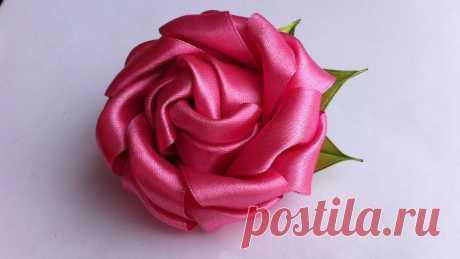 Украшение на заколку Канзаши / Пышная роза Очаровательная пышная роза на заколке-крокодиле. Также такой розой можно украсить резиночки для волос, ободочек или детскую повязочку на голову. Для её созда...