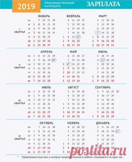 Производственный календарь на 2019 год с праздниками и выходными утвержденный
