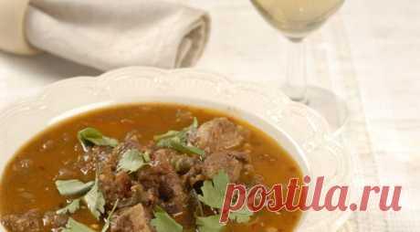 Мясной суп с баклажанами.