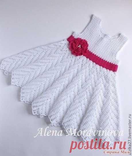 Белое чудо - вязаное крючком платье для девочки. Описание и схемы