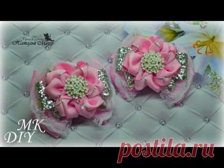 Нежные бантики для принцессы из репса, кружева и кожзама DIY Hair Bows Laços de fita - YouTube