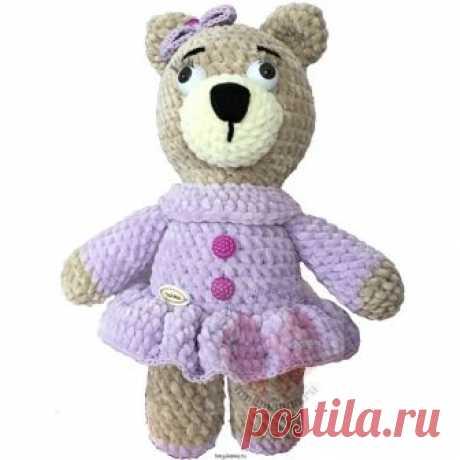 Плюшевая мягкая медведица в фиолетовом платье с бантиком, 30 см.Мастерская рукоделия Анны Ганоцкой