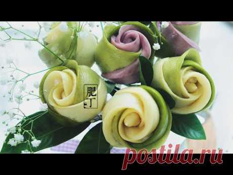 抹茶玫瑰饅頭 【湯種法】放兩三天都超軟超綿 Matcha Rose Steam Bun Tangzhong Recipe