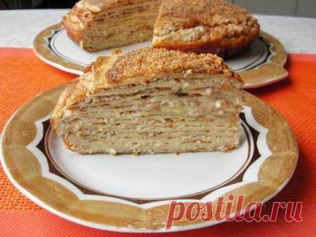 Венгерский блинный закусочный торт Ингредиенты: Блины - 13-15 шт. Яйца – 6 шт. Ветчина – 300 г Сливки – 200 г Чеснок – 2 зуб. Панировочные сухари – 4 ст.л. Сливочное масло – 50 г Соль, перец – по вкусу
