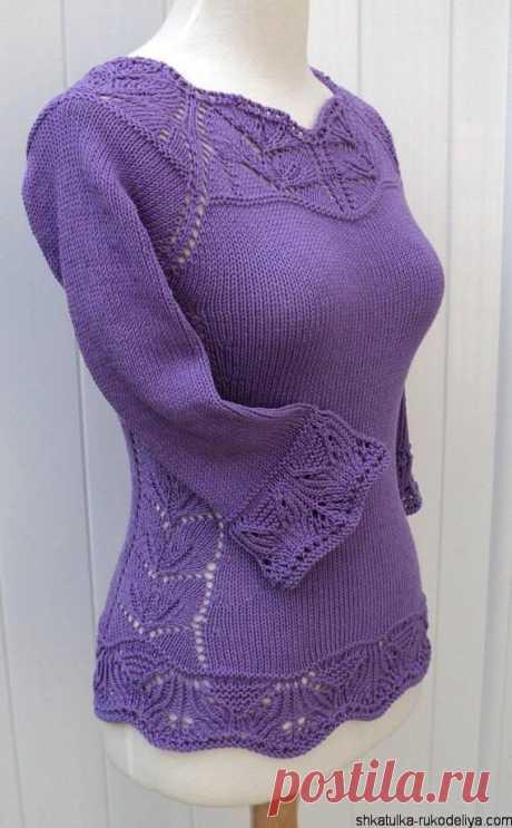 Пуловер спицами с рукавами 3/4 Пуловер спицами с рукавами 3/4. Красивый женский пуловер с ажурной кокеткой, ажурными манжетами и ажурным низом. Для вязания воспользуйтесь подборкой схем.…
