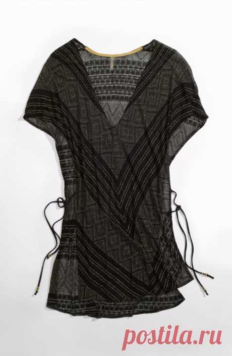Vitamin A® 'Black Diamond Crochet Talitha' Tunic Cover-Up | Nordstrom