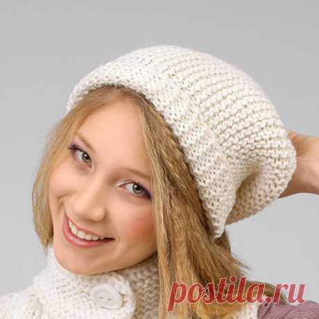 Схема шапки спицами белого цвета с отворотом - Портал рукоделия и моды