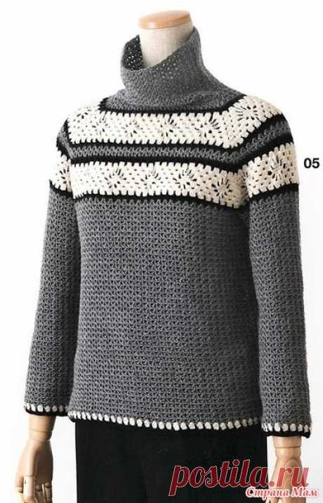 Серый свитер с контрастной отделкой. - Все в ажуре... (вязание крючком) - Страна Мам