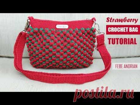 Tas Rajut Motif Strawberry || Crochet Bag Tutorial