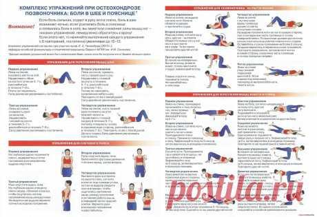 Комплекс упражнений при остеохондрозе позвоночника: боли в шее и пояснице