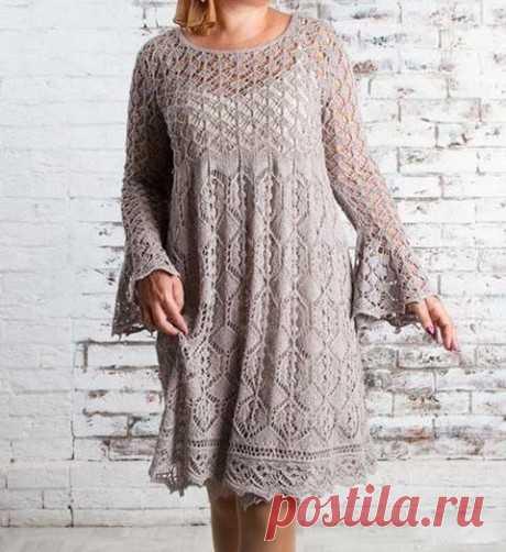 Платье туника спицами Noctua Tetra, Вязание для женщин