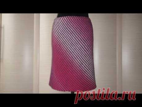 Юбка Диагональ спицами. Knitting skirt