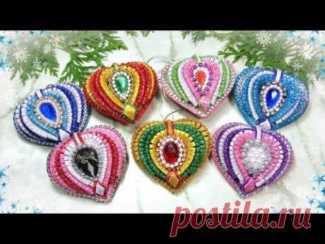 Ёлочные игрушки сердечки из фоамирана ❤ diy heart christmas ornaments glitter foam