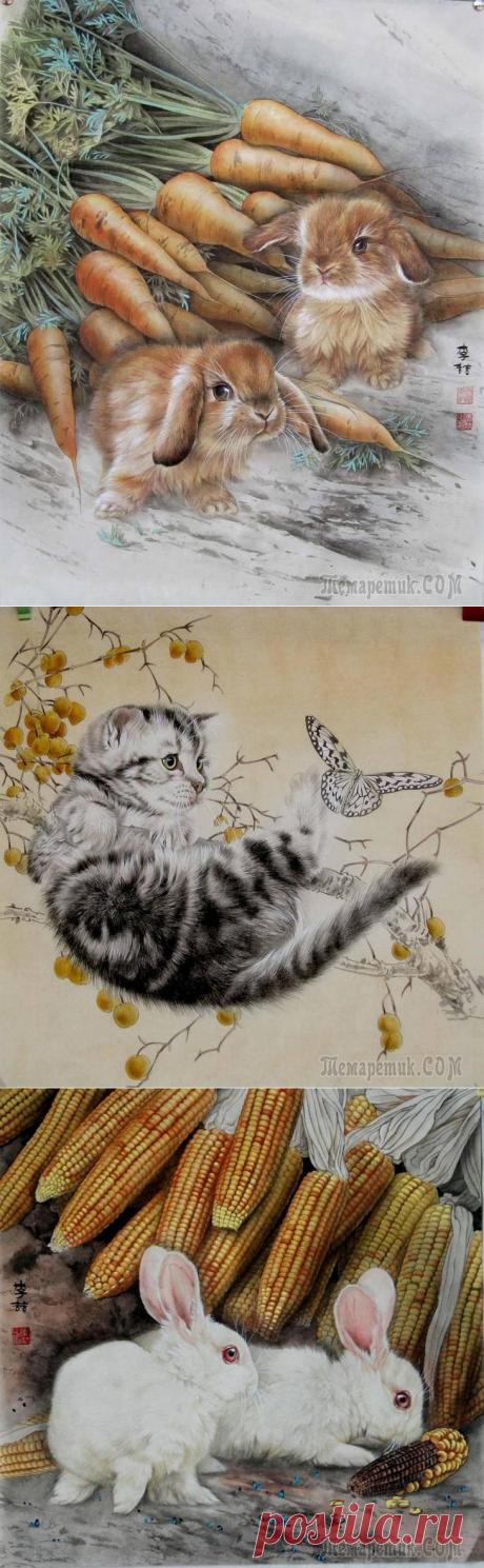 Si los animales milagrosos del pintor chino de Chzhe 李喆