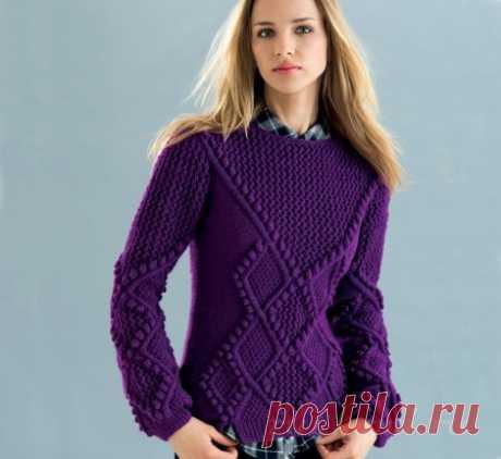 """Пурпурный пуловер спицами » Сайт """"Ручками"""" - делаем вещи своими руками"""